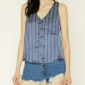Tops - Satin button up front striped open back blouse